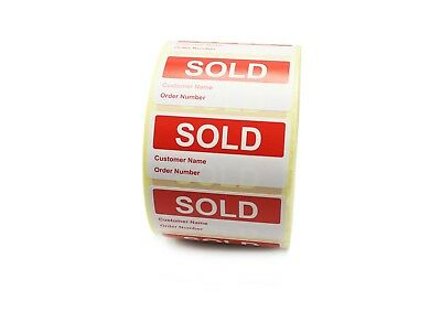 1,000 -  'SOLD' - Labels / stickers - with Customer Name & Order Number. 50x25