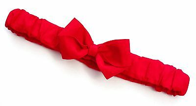 -:- Rosso Red Ruffled Bow Headband -:- All Sizes Available from Preemie to Adult