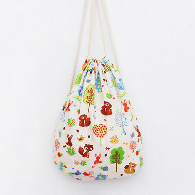 Handmade Linen Cotton Bag Draw String Backpack Printed Squirrel Tree SD193 B#