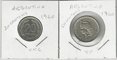 xx From Accumulation - 2 COINS from ARGENTINA - 20 & 50 CENTAVOS (BOTH 1960)