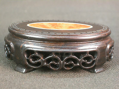 Small Chinese Flower Carved Bullion Inlay Rosewood Stand