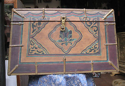 Antique Very Old Tibetan Wooden Chest, Box, Nepal