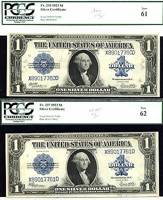 1923, $1 Fr. 238/Fr. 237 Reverse Changeover Pair- Silver Certificate-PCGS-63
