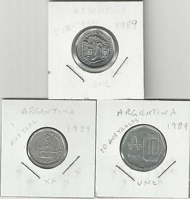 xx From Accumulation - 3 COINS from ARGENTINA - 1, 5 & 10 AUSTRALES (ALL 1989)