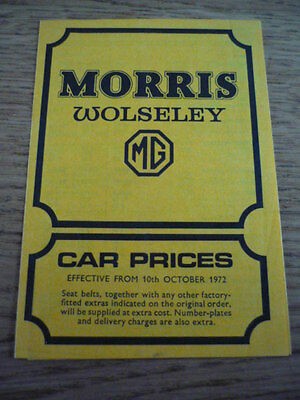 MORRIS, WOLSELEY & MG  RANGE INCLUDING MINI PRICE LIST CAR BROCHURE  jm