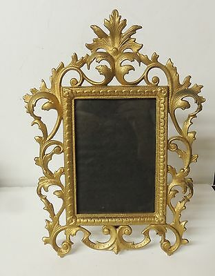Antique Victorian Ornate Gold Easel Frame Cast Spelter Rococo