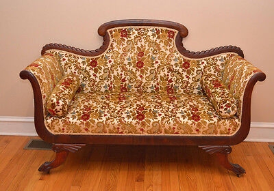 STUNNING Victorian Carved Sofa Parlor Settee Carved Lion Paw Feet Flocked Fabric