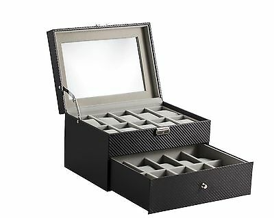 20 Slot Carbon Fiber Watch Box Jewelry Display Storage Case with Lock & Key New