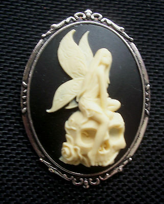 Gothic Fairy and Skull Cameo in Silver Tone Setting 48mm