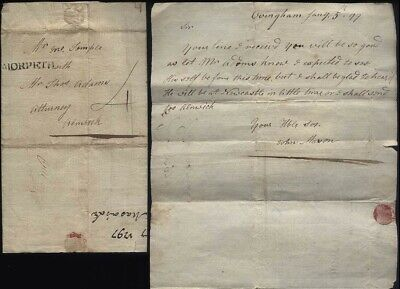 1797 MORPETH p/m Letter From John Mason at OVINGHAM to Adams of Alnwick