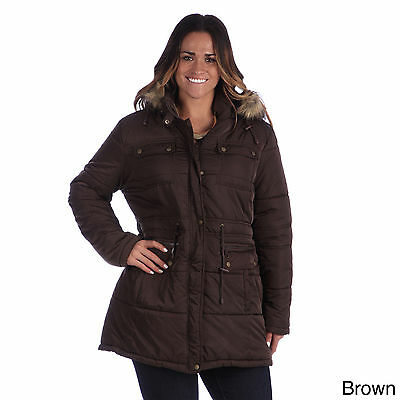 Excelled Women's Plus Size Hooded Puffer Coat