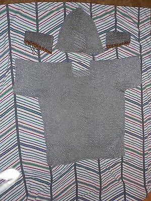 Chain Mail Shirt HUGE XLarge Hauberk Chainmail Butted + armguards + hood 60 LBS!