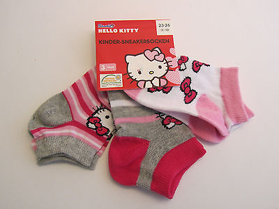 3er Set Hello Kitty * Kinder-Sneakersocken*23-26*Rosa/Weiss/Grau mit Motiv*Neu