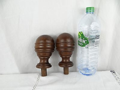 French Antique Architectural Decorative Wood Pair of Curtain-Rod Bed Finials