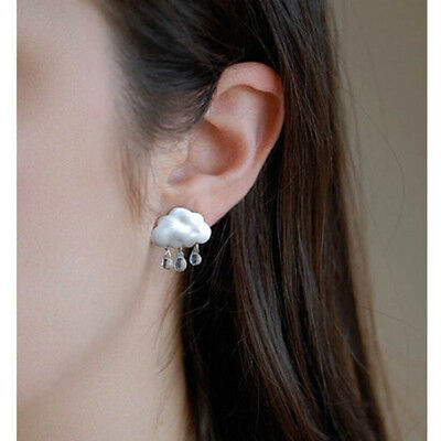 1 Pair New Women Lady Elegant Crystal White Cloud Dangle Ear Stud Earrings Gift