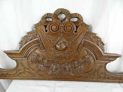 """45"" French Antiquity Pediment architectural Crown Solid Oak Wood Crest - Ribbon"