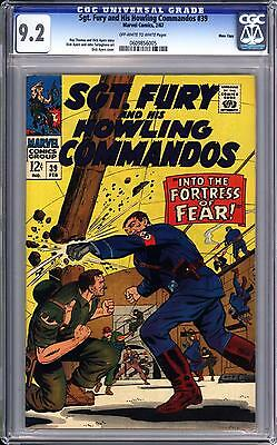 Sgt Fury And His Howling Commandos #39 Cgc 9.2 Oww Pages  Massachusetts Pedigree