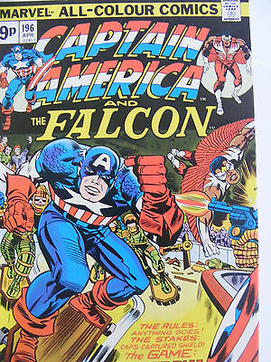Captain America & The Falcon # 196 Apr 1976 Jack Kirby! Bronze Age Pence Variant
