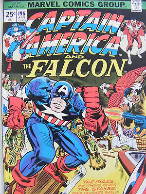 Captain America & The Falcon # 196 Apr 1976 Jack Kirby! Bronze Age Cents Variant
