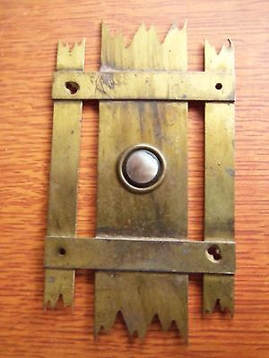 Antique Vintage Gothic Brass & Mother-of-Pearl Doorbell Button - Unique