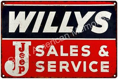 WILLYS Jeep Sales and Service Vintage Reproduction 12x18 Metal Sign 2181292