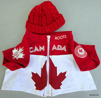 Roots Canada Teddy Bear Zip Jacket Olympic Maple Leaf Toque Knit Hat Red White