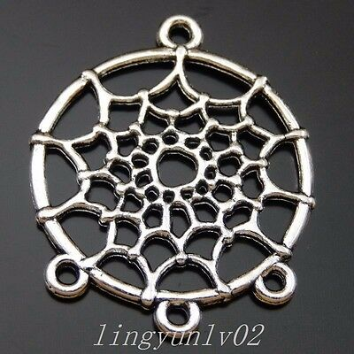 24X Antiqued Silver Round Spiderweb Alloy Pendant Charms Jewelry Finding 50033