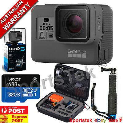 GoPro HERO5 BLACK **PLATINUM BUNDLE ** LEXAR 64GB,POLE, CARRY CASE save $100