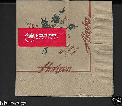 Alaska Airlines-Horizon Air Cocktail Napkin Warmer Holiday Wishes