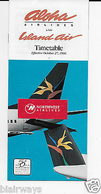 Aloha Airlines & Island Air Timetable 10-27-96 737 & Dash 8 50Th Anniversary