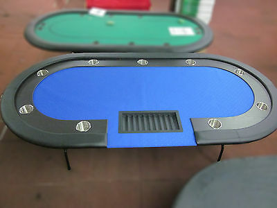 "96"" 8 Foot Pro Poker Table With Speed Felt [Blue] + Dealer Tray"