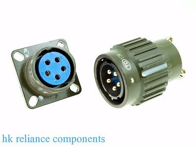 Ø22 22mm M 5-Pin Electrical Connector Military, Plug Pin Contacts