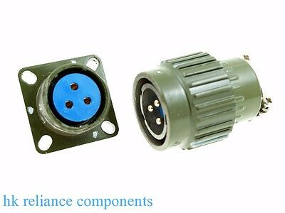 Ø22 22mm M 3-Pin Electrical Connector Military, Male Plug Pins