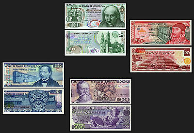Mexico Set #4 10,20,50,100 Pesos Uncirculated Banknotes South America