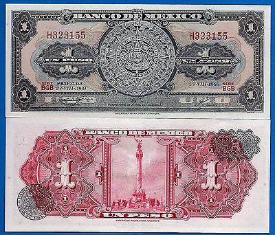 Mexico P-59k One Pesos Year 27.8.1969 Uncirculated FREE SHIPPING