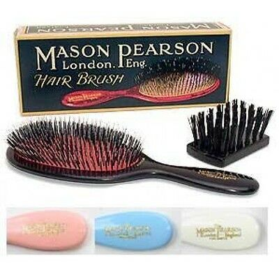 Mason Pearson Popular BN1 Bristle & Nylon, Dark Ruby, Pink, White (Ivory), Blue