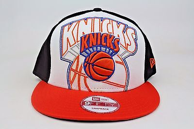 new arrival f1d8f 11678 New York Knicks Little Big Pop White Black Orange New Era 9Fifty Snapback  Hat