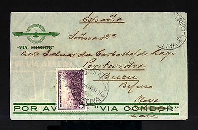 6861-ARGENTINA-AIRMAIL CENSOR CONDOR COVER BUENOS AIRES to BUEU (spain)1941.WWII