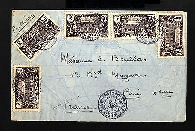 5746-CONGO-AIRMAIL COVER BRAZZAVILLE to PARIS (france)1936.WWII.french.HOPITAL.