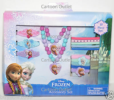 Disney Frozen Hair Clips Terries 15Pc Accessory Set Gift Necklace Anna Elsa Olaf