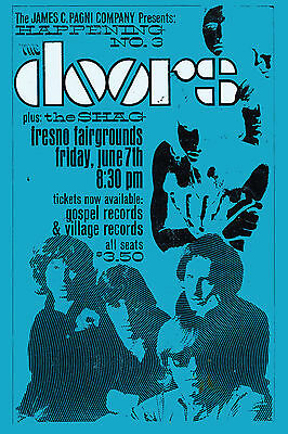 Psychedelic:  The Doors at Fresno Fairgrounds Concert Poster 1968 LARGE 24x36
