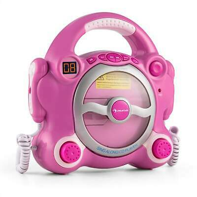 Auna Stereo Kinder Karaoke Party Musikanlage Cd Player Portabler 2 Mikros Pink