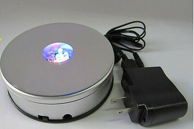 NEW4 inch RGB LED Crystal Light Rotating Mirror Top Base Portable Display Stand