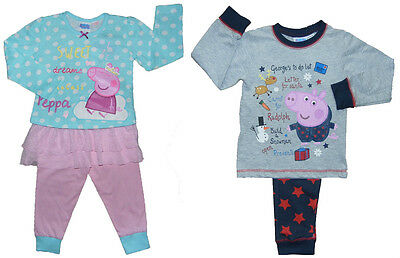 Kid Peppa Pig and George Pig Christmas Pyjamas 18-24m 2-3y 3-4y 4-5y