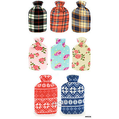 Fleece Covered Hot Water Bottle 2 Litre Winter Warm
