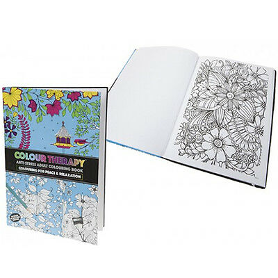 ** 88 Page A4 Colour Therapy Book Anti Stress Adult Relaxing Art Hard Back Gift