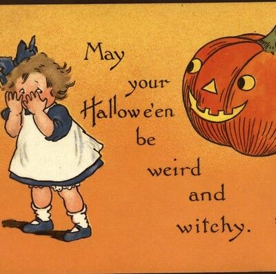 "Boy Plays Trick On Girl,""may Your Halloween Be Weird & Witchy"" Tuck,old Postcard"
