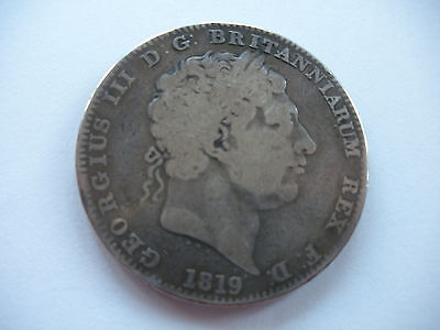 1819 George Iii Silver Crown - Lix - No Stops On Edge - Nf