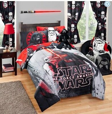 STAR WARS VII The Force Awakens COMFORTER +SHEETS +CURTAINS SET Bed in a Bag 7