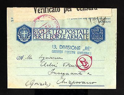 6059-ITALY-MILITARY SOLDIER CENSOR COVER LETTER PM.93 to CHIAPOVANO.1943.WWII